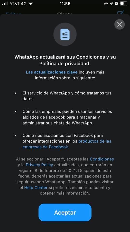 WhatApp Términos condiciones