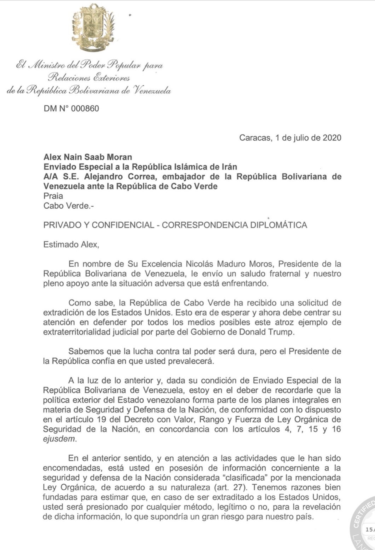 Carta del régimen confirma que Alex Saab posee información clasificada sobre Venezuela 1