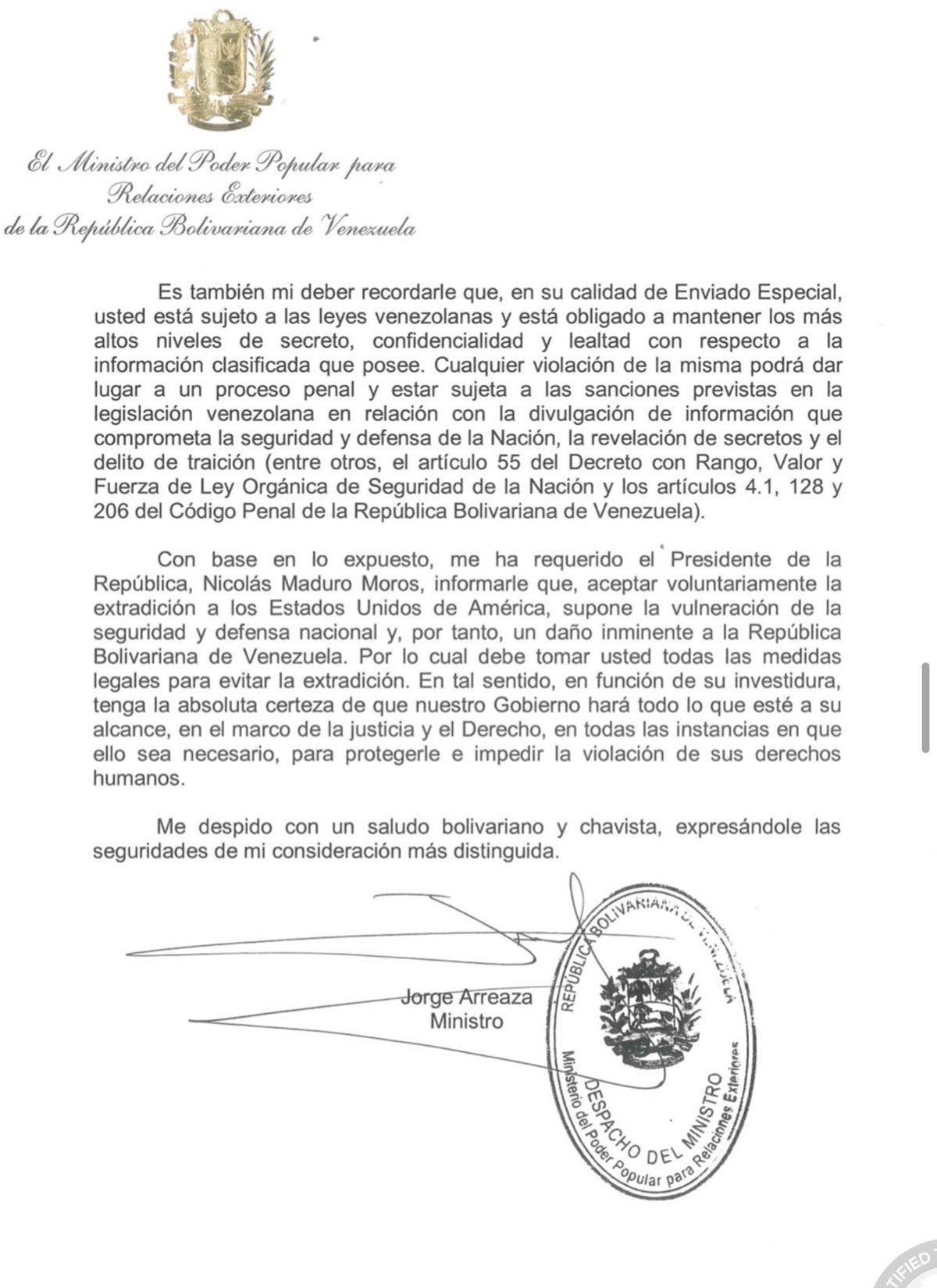 Carta del régimen confirma que Alex Saab posee información clasificada sobre Venezuela 2