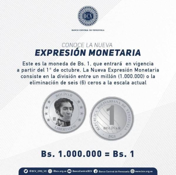 reconversión monetaria, nueva expresión del bolívar